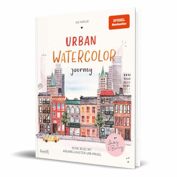 Cover vom Kreativbuch von Influencerin Sue Hiepler - Urban Watercolor Journey