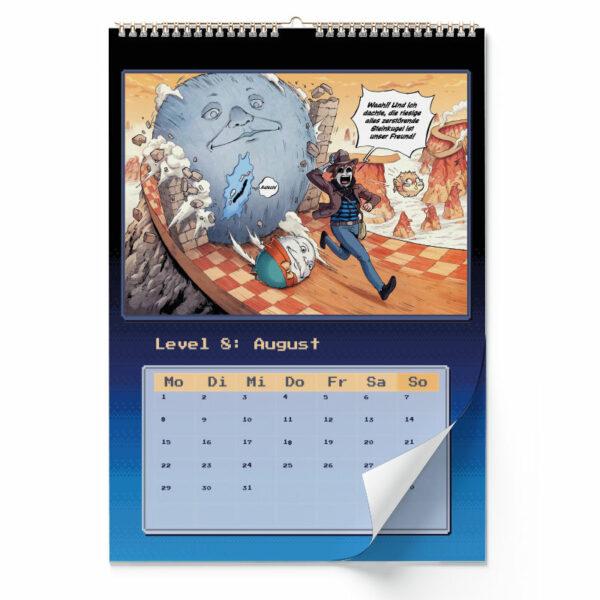 Innenansicht vom Wandkalender von GermanLetsPlay: August